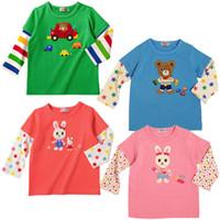 al por mayor relajada camiseta-Manguito de empalme T-shirt versión en coreano T-shirt Kids cartoon sudaderas niños relajante camiseta de calidad superior 5 ps/lote LT24