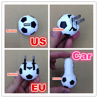 Car Chargers For LG For US Football Soccer Ball US CA EU Plug USB Wall Travel Home Adapter Car Charger For IPhone 5 5G 5S 4 Samsung Galaxy S3 S4 HTC Nokia Cell Phone