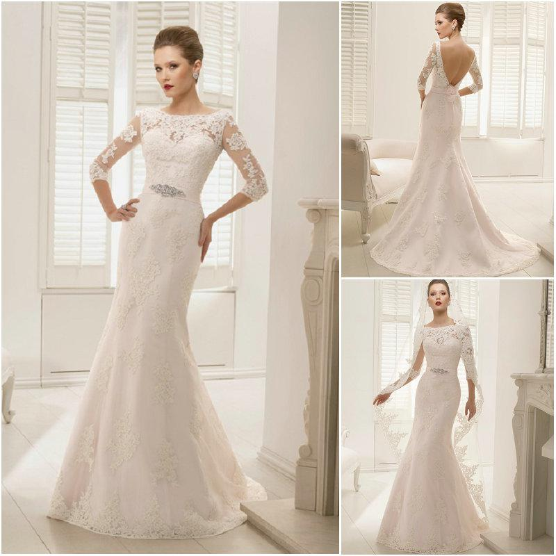2014 Blush Pink Mermaid Bridal Wedding Gowns Lace Applique Bateau ...