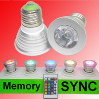 Wholesale New version Memory Setting Remote control dimmable SYNC Flash Changing KTV wedding birthday party decor RGB W LED Spotlight bulb