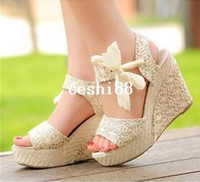 Spool Heel beige high wedges - summer woman sandal for women wedges platform sandals high heels shoes net fabric lace belt Q5