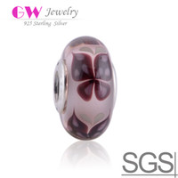 Wholesale Pink Butterfly Kisses glasses beads of sterling silver score and glass murano fit European Bracelets No