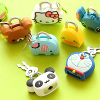 Flat Nose Stainless Steel Fishing 7004 Pai gifted creative fashion mini cartoon metal lock padlock silicone super cute cartoon doll