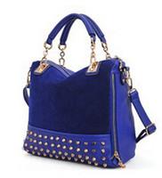 Wholesale Women Fashion Rivets Tote Bags Top Side Zipper Closure Handbags Removable Strap Shoulder Bags Ladies Mosaic Leather Bags