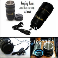 Bone China ECO Friendly Lens Freeship 5 lens heating cup Coffee camera lens mug stainless steel liner travel thermal cup 400ml keeping warm with car charger