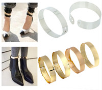 Casual/Sport anklet cuff - Fashion Punk Golden Flat Mirror Metal Anklet Ankle Foot Cuff Bracelet Bangle Ring B631
