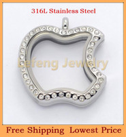 Beaded Necklaces Gift pendants 2014 New Design Apple Shape Silver Crystal Glass Floating Lockets,316L Stainless Steel Living Magnetic Lockets Pendants P322