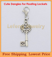 Charms Traditional Charm key Free shipping Wholesale Silver Heart Crown Key floating dangles charms for Living Glass lockets