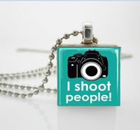 South American aa photography - Camera Jewelry I Shoot People Photography Turquoise Scrabble Tile Pendant with Ball Chain Necklace Included AA