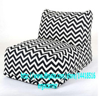 Wholesale Black or Grey Color Chervon bean bag chair L shape with back support zigzag design beanbag leisure chairs