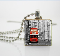 Pendant Necklaces aa bus - UK Double Decker Bus London England Scrabble Tile Pendant with Ball Chain Necklace Included AA