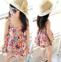 TuTu Summer A-Line New 2014 Girls Summer clothing Children Sweet Baby Cotton Floral Child Dress Backless dress with shoulder-straps