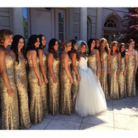 Print gold bridesmaid dresses - Hot Selling Elegant Strapless Gold Sexy Sweetheart Strapless Long Bridesmaid Dresses Formal Dresses