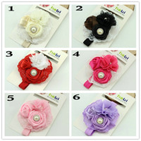Wholesale New Arriver Baby Girls clip Kids Adorable Hair Bands Vintage Roses Pearls Flowers Infant Children Hair Accessories Pretty Headbands