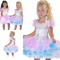 Wholesale 2014 Lovely Halter ball gown mini glitz pageant dresses backless crystal beads piping organza pretty pink and white flower girl dress BO6002