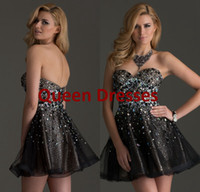Model Pictures Organza Sweetheart 2014 Black Short Homecoming Graduation Dresses Sexy Backless Rhinestone Crystal Beaded Black Corset Organza Mini Prom Dresses Ball Gown