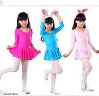 Wholesale Girls long sleeve dance dress children ballet leotard dresses for spring autumn blue pink red color high quality