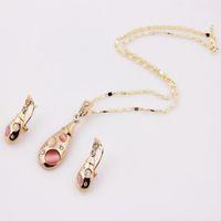 Wholesale 2014 New k Gold Wedding Bridal Pendant Necklace Earrings Fashion Pink Beads Crystal Austrian Costume Pendant Jewlery Sets