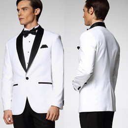 Wholesale 2015 White Wedding Suit Classic Center Vent Slim Fit Groom Tuxedos Best man Suit with Black Collar Mens Suit Jacket Pants Tie