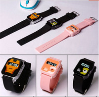 Wholesale 2014 NEW GPS GSM GPRS Tracker Watch Double Locate Remote Monitor SOS emergency call child kid the old LBS SMS location