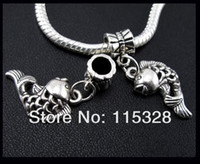 Cheap Free Shipping 100pcs Tibetan Silver Lucky Fish carp Pendant Dangle Bead Fit Charm Bracelet 19.5x10mm For Jewelry Making