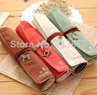Fabric Pencil Bag Yes 10pcs lot Free shipping! Book stationery vintage roll pencil case mori canvas pen curtain pencil case fashion
