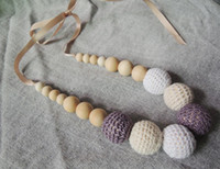 Wholesale Fade Grey cream white crochet teething necklace wood beads baby toy baby teether necklace NW1706