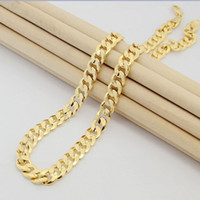 Wholesale 24inches g K Solid Yellow Gold Filled Plated Mens Link Necklace Chain Long Necklace Men24K gold necklace chain men never fade