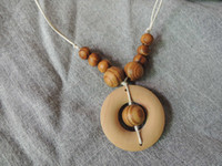 Beaded Necklaces baby pine - Pine wood with plain Ring teething necklace wood beads baby toy baby teether necklace NW1709