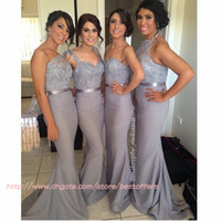 Sequins halter top wedding dress - Mermaid Long bridesmaid dress with One shoulder straps sweetheart Halter neck sequined top gray wedding party gowns vestido de madrinha