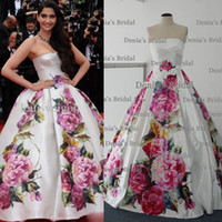 Reference Images Cannes Film Festival Strapless Real Image 2014 Celebrity Dress Printed Flowers sonam-kapoor-poses Cannes Festive Myriam Fares Floor Length Ball Gown Evening dress dhyz 01