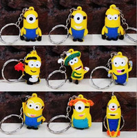 Wholesale Hot sell D Anime Cartoon Movie Despicable Me Superman Minions Keychain Set DHL Nice Retail Package
