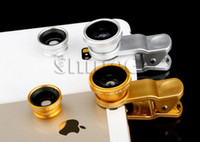 Wholesale Hot Universal in camera Clip On Degree Fish Eye Lens Wide Angle Macro Lens For cellphone iphone samsung HTC ipad Tablet PC