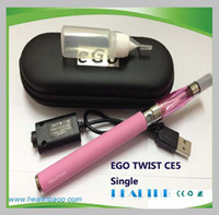 Single Black Metal Electronic Cigarette ego twist ce5 starter kit ego c twist battery 650mah 900mah 1100mah ce5 atomizer 1.6ml Zipper Case free shipping