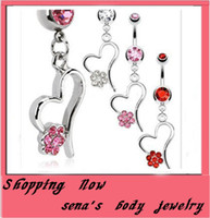 Wholesale CF038 Navel Ring mix color fashion dangle heart belly button ring body piercing jewlry