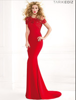 Cheap Reference Images Long Evening Dresses Best Crew Satin Red Prom Dresses