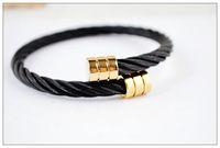 2014 hot sale Black thread bracelet, titanium steel bracelet...