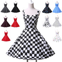 New Arrival Women Rockabilly Cotton Flower Pattern Polka Dot...