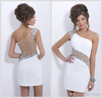 Wholesale 2016 New Sparkly Crystal Blush Homecoming Cocktail Dresses One Shoulder Beaded Sheer Illusion Short Mini Sheath See Through Back CPS207