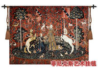 100% Wool Embroidered Bedroom Medieval European cotton big size jacquard tapestry fabric picture tapestry sofa cover wall hangings mural decorative picture