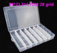 Wholesale 34 CM grid Transparent plastic storage boxes rainbow loom bands DIY Rainbow rubber band box Jewelry box