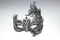 Wholesale Top Sell Venetian Luxury Black Laser Cut Metal Masquerade Mask With Rhinestones