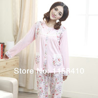 Wholesale 2014 Spring Autumn Women Pajamas Cotton short Sleeve Floral Sweet Lady Home Wear nightgown Women nightgowns
