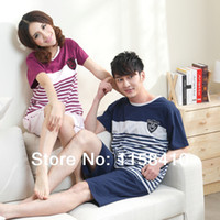 Wholesale 2014 Hot selling Summer Cotton Nightgowns Adult pajama whole Couples pajamas Set Men Women Night Dress