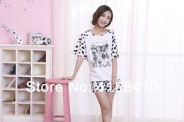 Wholesale 2014 Summer New Style Pajamas Lovely Cartoon Sleep Wear Leopard Girls Summer Dress Jumpsuits for Women Home Wear