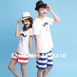 Wholesale Summer Couple Pajamas Cotton Lounge Set Lovely Beard Shorts Night Pyjama Lovers Casual wear