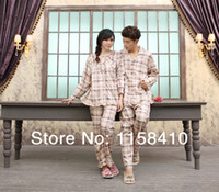 Wholesale Spring amp Autumn Lovely Plaid Couples Pajamas Lovers Home Wear Sets Men and Women Long Sleeve Nightgowns Cotton Pajamas