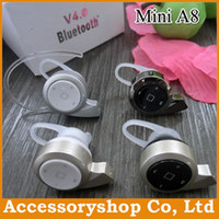 Wholesale MINI Bluetooth V4 Universal Headset Mini A8 Wireless Headphone Music and Phone Call For iPhone S Samsung Galaxy S4 S5 HTC DHL