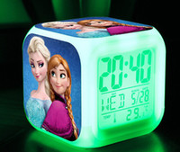 Wholesale 20pcs free shpping DHL New LED Colors Change Digital Alarm Clock Frozen Anna and Elsa Thermometer Night Colorful Glowing Clock