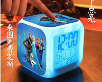 Wholesale free shpping fashion New LED Colors Change Digital Alarm Clock Frozen Anna and Elsa Thermometer Night Colorful Glowing Clock